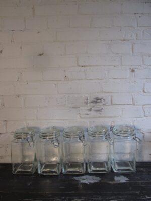 Glazen vierkante weck pot
