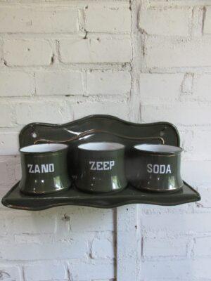 Emaille zand zeep soda in het donkergroen met bies