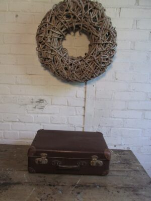 Kleine oude bruine koffer 43 x 27.5 cm
