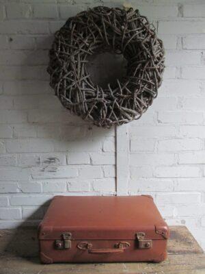 Oude koffer, cognac 47 x30 cm