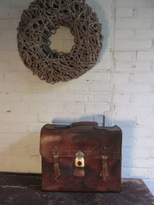 Oude leren koffertas