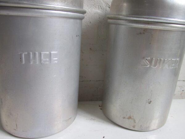 Aluminium koffie thee suiker bussen set