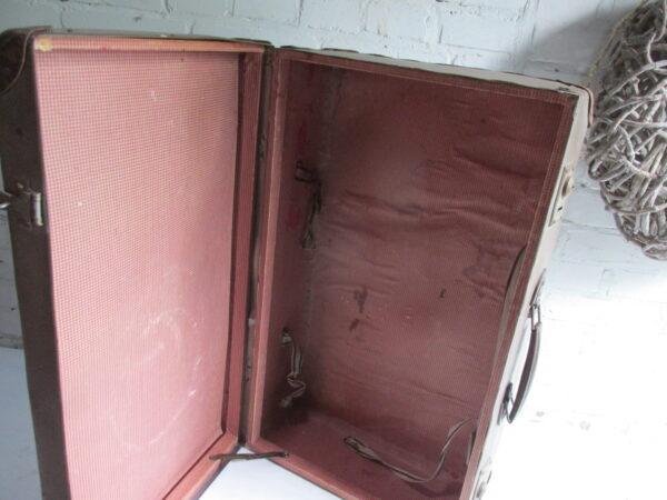 Oude koffer in het bruin tweed 65.5 cm x 41 cm