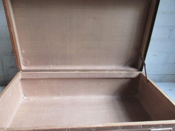 Oude koffer in bruin tweed 50 cm x 31 cm