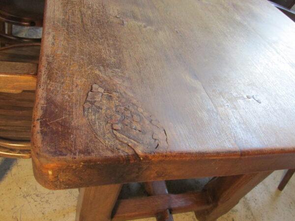 Franse vintage eiken lange tafel