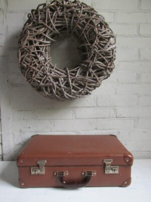 Oude kleine bruine koffer 46 cm x 28.5 cm