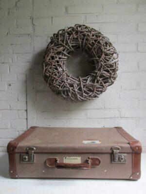 Oude koffer bruin tweed 60 cm x 38 cm
