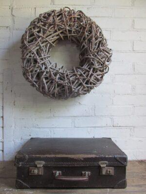 Oude donkerbruine koffer 45.5 cm x 29.5 cm