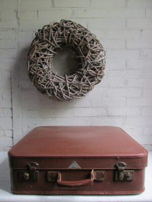 Vintage koffer Hulshof bruin 55.5 cm x 51 cm