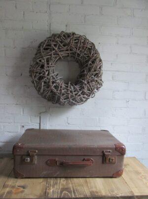 Oude koffer bruin tweed 55 cm x 33.5 cm