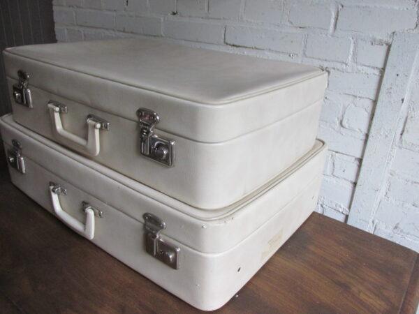 Vintage koffer set, wit